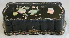 Victorian Papier Mache Work Box by Jennens & Bettridge - Mother of Pearl Inlaid