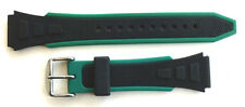 18mm GREEN AND BLACK RUBBER SPORT DIVERS WATCH BAND / STRAP