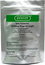 Saw Palmetto 3000mg Hair Loss Prostate Urinary Tract X 120 Tablets Synvit0