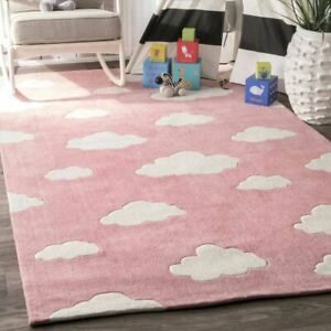 Kids Clouds Pink Hand-Tufted 100% Wool Soft Area Rug Carpet.