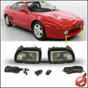 For 1991 1995 Toyota MR2 Front Fog Lights Smoke Lens Pair LH RH Set w/Bulbs