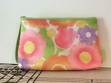 CLINIQUE Floral Print Cosmetic Makeup Bag Top Zipper Pouch w/ White Lining
