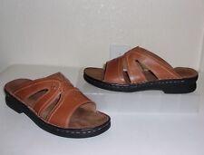 Clarks Brown Leather Sandals Size 7 Slides Shoes
