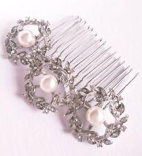 """BNWT-Rhinestone CORONAS con perlas Peine de Cabello-Antiguo/Grecian-Nupcial - """"Patricia"""""""