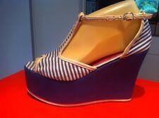 Ladies Blue Stripe TONIC Wedges AUS Size 7 EU 38 Platform T Bar Vintage Style