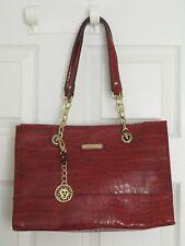 Anne Klein Coast Is Clear Purse Shoulderbag Tote Handbag Scarlet Red Gold Chain