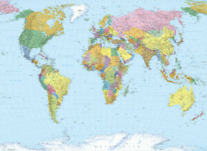 Map of the World wallpaper mural in large size feature wall deco | no adhesive