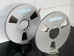 """2 X REVOX WHITE BLUE BOUNDRY  LOGO METAL NAB HUB REEL TO REELS 10.5"""" X 1/4"""""""