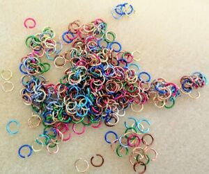 Anodised Open Jump Rings - 6mm - Approximately 400 in Assorted Mixed Colours