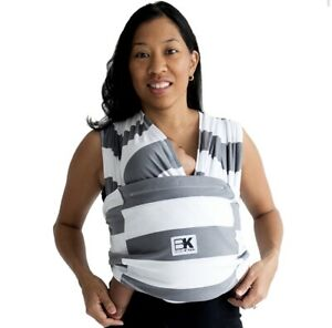 Baby K'tan Print Stripe Charcoal/White Baby Carrier Wrap, XSmall