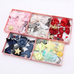 10Pcs/set Baby Girl Hair Clip Bow Flower Barrettes Party Kids Hairpins Headwear