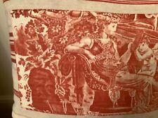 More details for antique french toile de jouy and linen ticking cushion, la toilette d'amour
