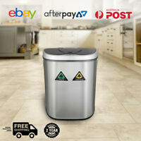 70L Stainless Steel Motion Sensor Bin Rubbish Trash Can Automatic ( Dual)