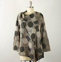 NWT Yushi Cowl Neck Asymmetrical Hem Dot Print Tunic Top M