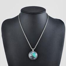 Vintage Punk Living Tree of Life Cabochon Glass Bronze Chain Pendant Necklace