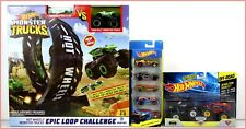LOT 3- Hot Wheels MONSTER Truck EPIC Loop Challenge + 3 Monster Trucks + 6 Cars