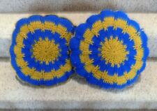 "Set of 2 Vintage Groovy Blue and Gold 12"" Round Crocheted Throw Pillows"