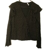 Sanctuary Womens Size Small Top Blouse Long Sleeve Ruffle Detail Polka Dot Black