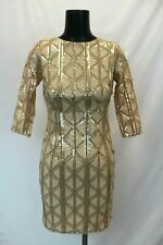 TFNC Brenna Geometric Sequin Bodycon Mini Dress w/Open Back CB8 Nude/Gold US:2