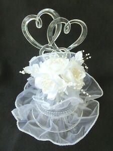 Vtg Two Hearts Millinery White Flowers Wedding Cake Topper!  1983!  WHITE BEADS!