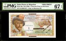"""1 Nouveau Franc on 50 Francs ND (1960) Saint Pierre & Miquelon """"SPECIMEN"""" PMG 67"""