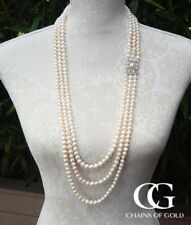 """Natural Sterling Silver Over 35"""" Fine Pearl Necklaces & Pendants"""