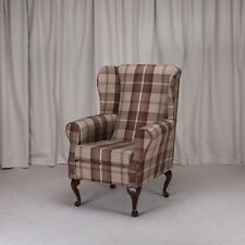 Westoe Wing Back Fireside Armchair a Balmoral Mulberry Fabric