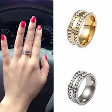 Double Rows Ring Wedding Band Ring Crystal Womens Men Fashion Stainless Steel