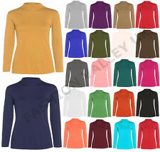 LADIES LONG SLEEVE TURTLE POLO NECK TOP WOMENS HIGH ROLL NECK TOP JUMPER 8-26
