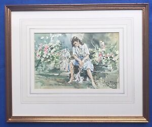 Original Art Watercolour Painting Pretty Female Woman With Dog By Gordon King