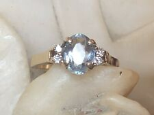 VINTAGE ESTATE 14K GOLD  NATURAL AQUAMARINE & DIAMOND RING ENGAGEMENT