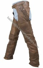 Unisex mens womens Brown leather biker motorcycle chaps