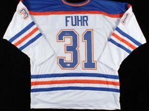 Grant Fuhr Signed Jersey (Beckett COA)Edmonton Oilers
