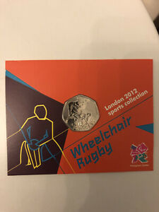 Wheelchair Rugby Olympic 50p - BNUC, Coin In Card Presentation