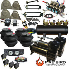 """C10 73-87Chevy GMC Air Ride Kit  2600 Bags 3/8"""" Valve  5 Gal  Two Blk DC480s xzx"""