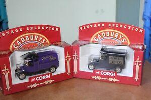 2 (TWO) x CORGI VINTAGE SELECTION ~ CADBURYS VANS ~ CADBURYS COCOA, FRY'S CHOC