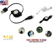 Micro USB to USB 2.0 DataSync Charge Cable RETRACTABLE with Wall or Car Charger