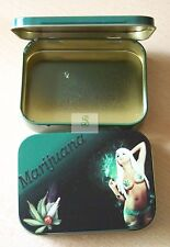 Marijuana  Large 2oz Hinged Tin Green, Ciggs, Tobacco, Bits & Bobs