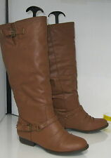 """Brown 1.5"""" Low Block Heel Faux Leather Sexy Knee Boot Size .11"""