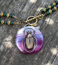 Vintage Style. Elegance And Glamour. Estate Sale Agate Scarab Drop Necklace.