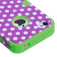 iPhone 4 4S - Purple Green Polka Dots Dual Armor Hard & Soft Rubber Hybrid Case