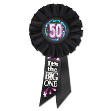 LARGE 50 - IT'S THE BIG ONE 50TH BIRTHDAY ROSETTE AWARD BADGE