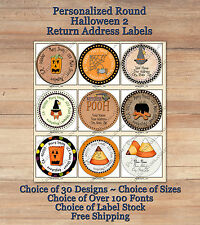 Colourful Whimsical Custom HALLOWEEN FALL ROUND Address Labels 2 Ghosts Witches