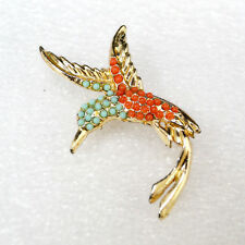 Humming Bird Pin Brooch Faux Turquoise and Coral Gold Tone