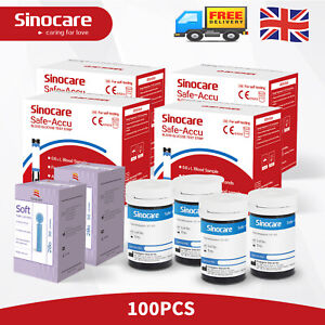 Sinocare 50-100Pcs Strips Diabetic Blood Sugar Test for Safe Accu Glucometer New