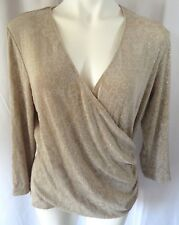 Dressbarn Women sz XL Top Tan Scroll Work Print Glitter Plunging V-neck Wrap L/S