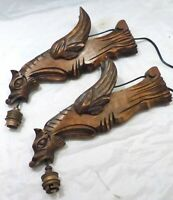 PAIR Vintage French Carved Wood Gothic Chimera Wall Light Sconce Gargoye
