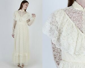 Vintage 70s Ivory Floral Lace Dress Romantic Country Prairie Wedding Tiered Maxi