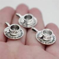 10pcs Tea coffee cup saucer antique Tibetan Silver 3D charms zinc alloy Pendants