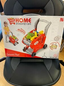 Red Toy Supermarket Shopping Trolley With Pretend Play Food *MISSING PART*